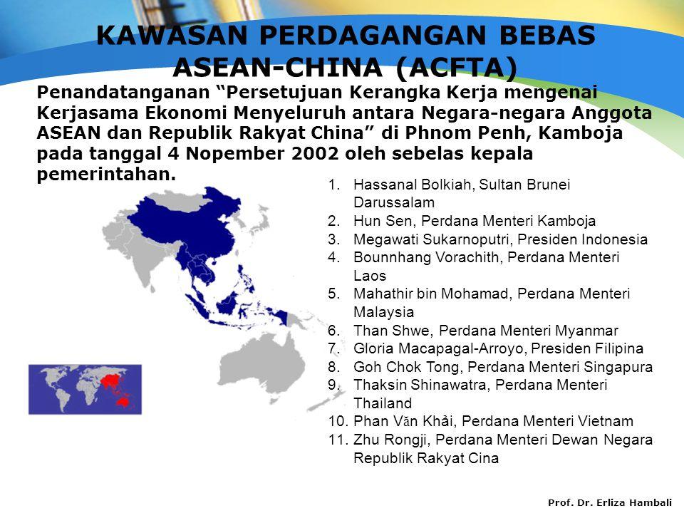 """Prof. Dr. Erliza Hambali KAWASAN PERDAGANGAN BEBAS ASEAN-CHINA (ACFTA) Penandatanganan """"Persetujuan Kerangka Kerja mengenai Kerjasama Ekonomi Menyelur"""