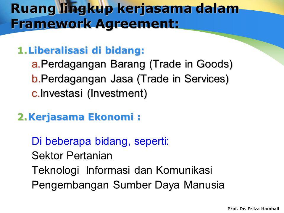 Prof. Dr. Erliza Hambali Ruang lingkup kerjasama dalam Framework Agreement: 1.Liberalisasi di bidang: a.Perdagangan Barang (Trade in Goods) b.Perdagan