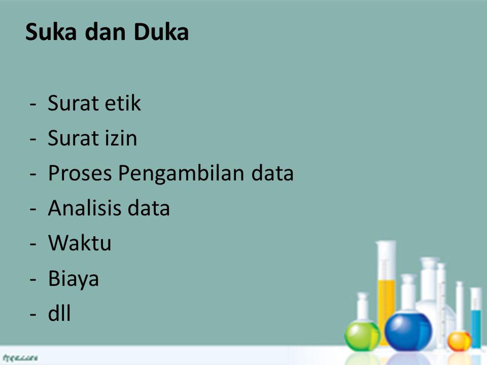 Suka dan Duka -Surat etik -Surat izin -Proses Pengambilan data -Analisis data -Waktu -Biaya -dll