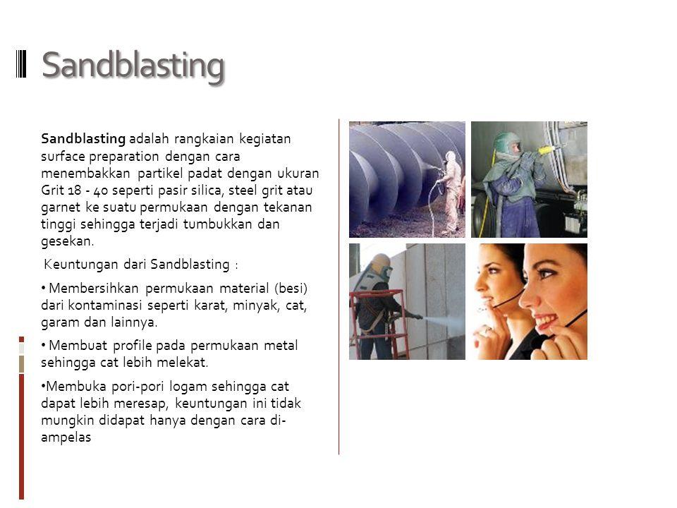 Wetblasting Wetblasting adalah proses yang sama dengan Sandblasting, bedanya ditambahkan campuran air khusus yang sudah ditambahkan bahan anti karat, kedalam pasir agar tidak menimbulkan percikan api dan debu pasir yang dapat menganggu proses produksi.