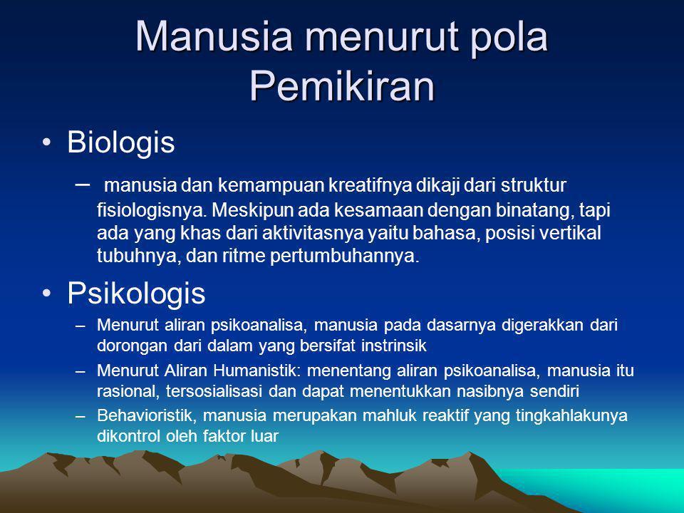 Manusia menurut pola Pemikiran Biologis – manusia dan kemampuan kreatifnya dikaji dari struktur fisiologisnya.