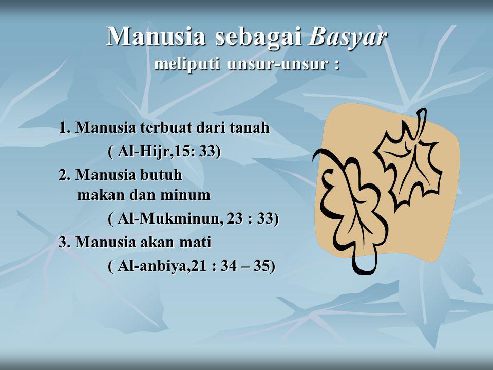 Manusia sebagai Basyar meliputi unsur-unsur : 1.Manusia terbuat dari tanah ( Al-Hijr,15: 33) 2.