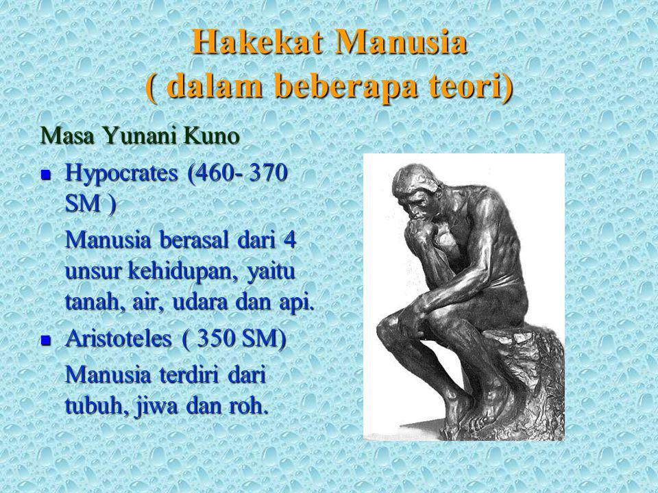 Hakekat Manusia ( dalam beberapa teori) Masa Yunani Kuno Hypocrates (460- 370 SM ) Hypocrates (460- 370 SM ) Manusia berasal dari 4 unsur kehidupan, yaitu tanah, air, udara dan api.