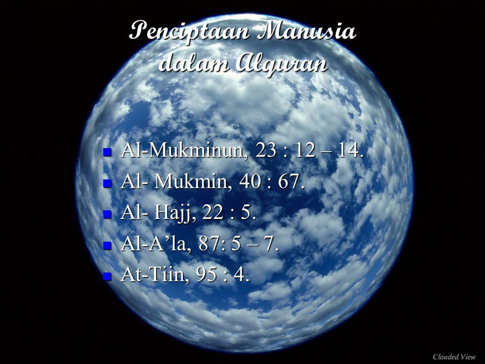 Penciptaan Manusia dalam Alquran Al-Mukminun, 23 : 12 – 14.