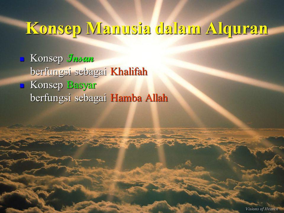 Konsep Manusia dalam Alquran Konsep Insan Konsep Insan berfungsi sebagai Khalifah Konsep Basyar Konsep Basyar berfungsi sebagai Hamba Allah