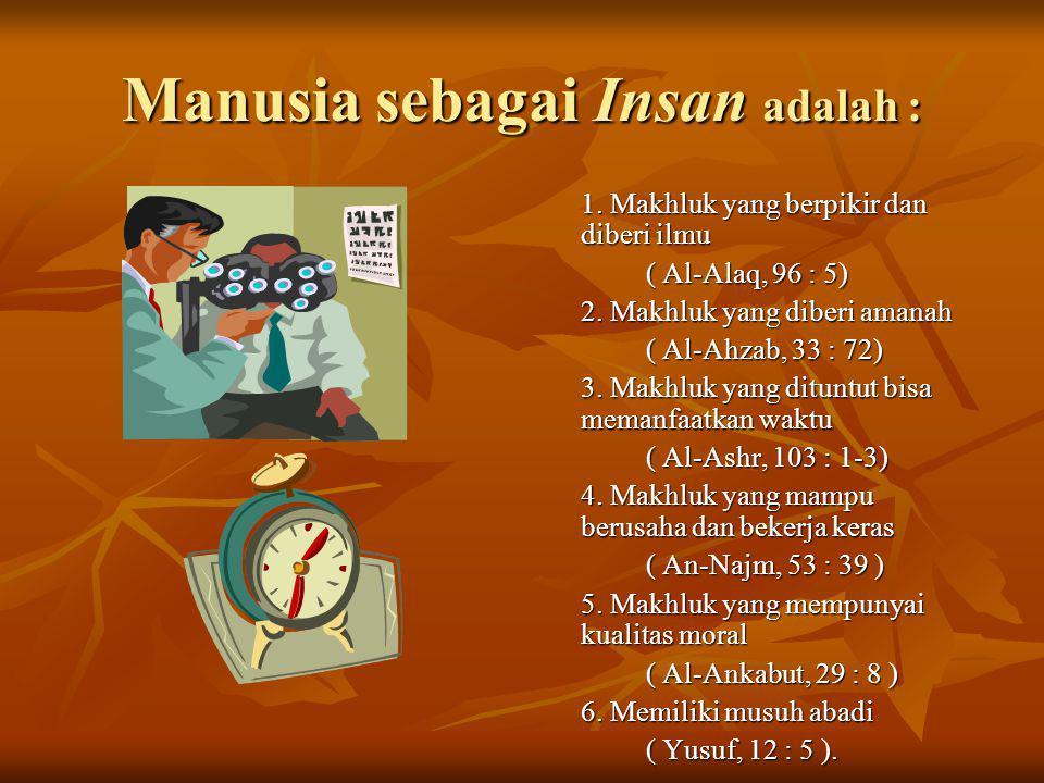 Manusia sebagai Insan adalah : 1.Makhluk yang berpikir dan diberi ilmu ( Al-Alaq, 96 : 5) 2.