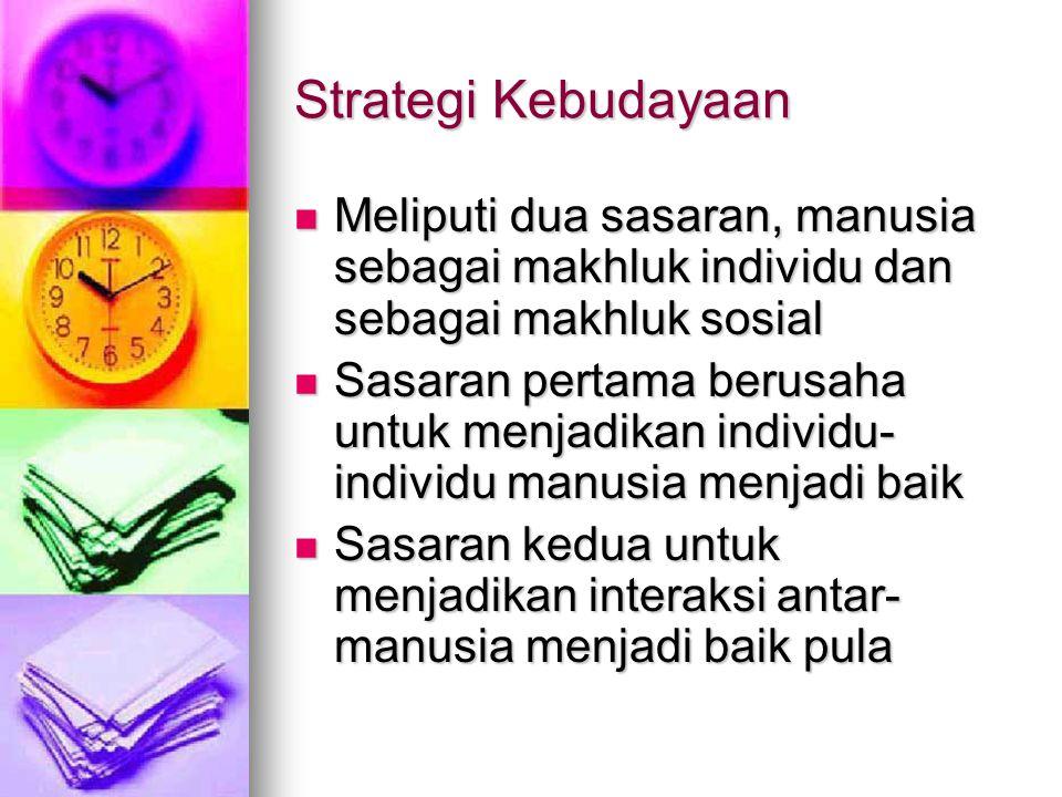 Strategi Kebudayaan Meliputi dua sasaran, manusia sebagai makhluk individu dan sebagai makhluk sosial Meliputi dua sasaran, manusia sebagai makhluk in