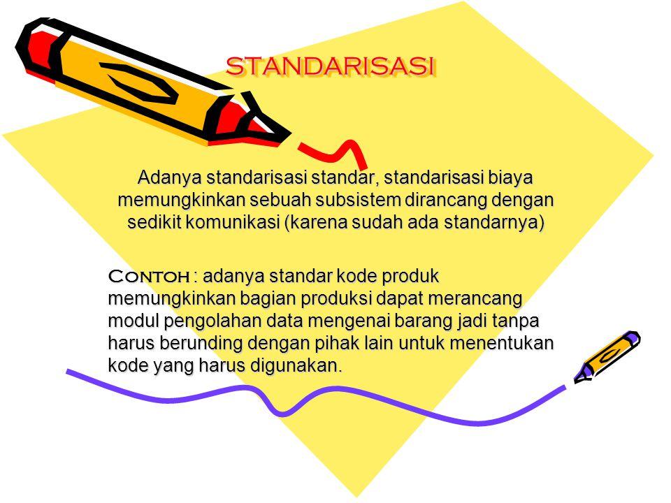 STANDARISASISTANDARISASI Adanya standarisasi standar, standarisasi biaya memungkinkan sebuah subsistem dirancang dengan sedikit komunikasi (karena sud