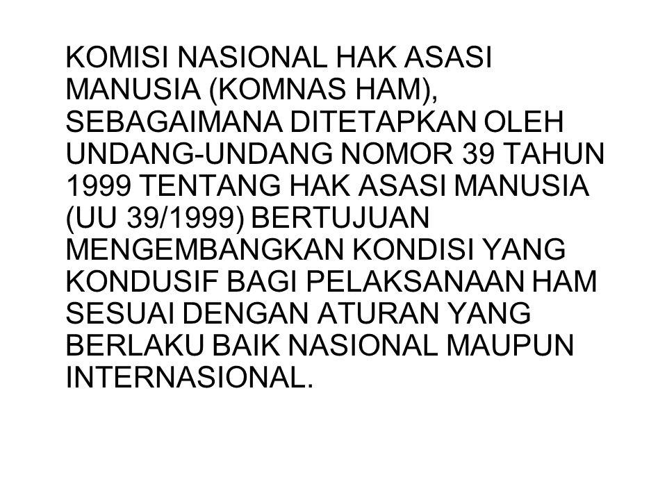 KOMISI NASIONAL HAK ASASI MANUSIA (KOMNAS HAM), SEBAGAIMANA DITETAPKAN OLEH UNDANG-UNDANG NOMOR 39 TAHUN 1999 TENTANG HAK ASASI MANUSIA (UU 39/1999) B
