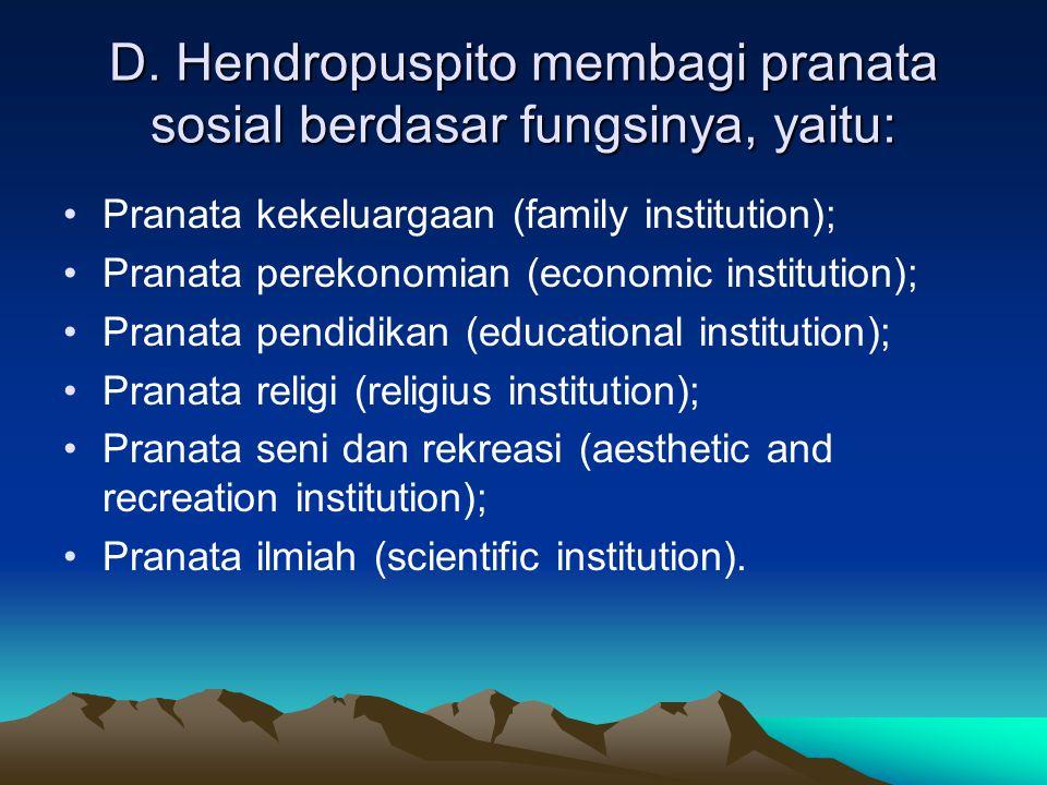 D. Hendropuspito membagi pranata sosial berdasar fungsinya, yaitu: Pranata kekeluargaan (family institution); Pranata perekonomian (economic instituti