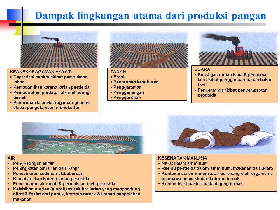 Dampak lingkungan utama dari produksi pangan UDARA  Emisi gas rumah kaca & pencemar lain akibat penggunaan bahan bakar fosil  Pencemaran akibat penyemprotan pestisida TANAH  Erosi  Penurunan kesuburan  Penggaraman  Penggenangan  Penggurunan KEANEKARAGAMAN HAYATI  Degradasi habitat akibat pembukaan lahan  Kematian ikan karena larian pestisida  Pembunuhan predator utk melindungi ternak  Penurunan keaneka-ragaman genetis akibat pengutamaan monokultur KESEHATAN MANUSIA  Nitrat dalam air minum  Residu pestisida dalam air minum, makanan dan udara  Kontaminasi air minum & air berenang oleh organisme pembawa penyakit dari kotoran ternak  Kontaminasi bakteri pada daging ternak AIR  Pengosongan akifer  Peningkatan air larian dan banjir  Pencemaran sedimen akibat erosi  Kematian ikan karena larian pestisida  Pencemaran air tanah & permukaan oleh pestisida  Kelebihan nutrien (eutrofikasi) akibat larian yang mengandung nitrat & fosfat dari pupuk, kotoran ternak & limbah pengolahan makanan