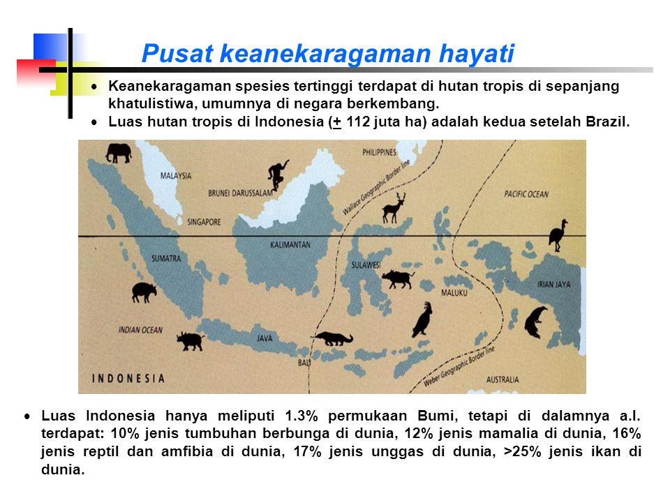 Pusat keanekaragaman hayati  Luas Indonesia hanya meliputi 1.3% permukaan Bumi, tetapi di dalamnya a.l.