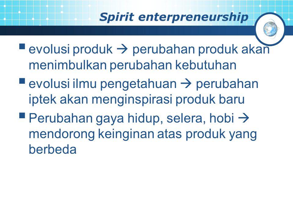 Spirit enterpreneurship  evolusi produk  perubahan produk akan menimbulkan perubahan kebutuhan  evolusi ilmu pengetahuan  perubahan iptek akan men