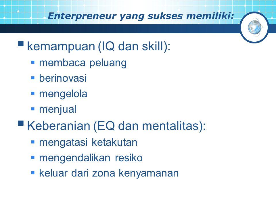 Enterpreneur yang sukses memiliki:  kemampuan (IQ dan skill):  membaca peluang  berinovasi  mengelola  menjual  Keberanian (EQ dan mentalitas):