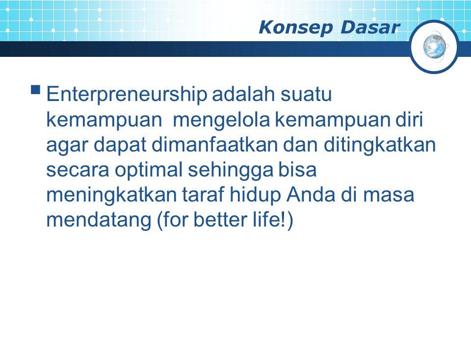 Konsep Dasar  Enterpreneurship adalah suatu kemampuan mengelola kemampuan diri agar dapat dimanfaatkan dan ditingkatkan secara optimal sehingga bisa