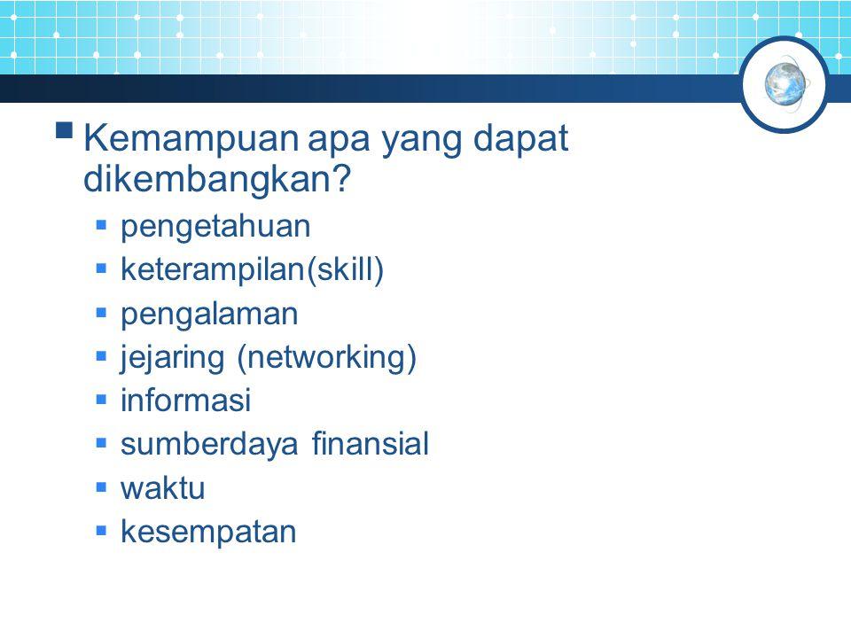  Kemampuan apa yang dapat dikembangkan?  pengetahuan  keterampilan(skill)  pengalaman  jejaring (networking)  informasi  sumberdaya finansial 