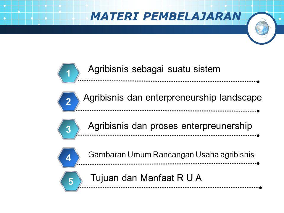 MATERI PEMBELAJARAN Agribisnis sebagai suatu sistem 1 Agribisnis dan enterpreneurship landscape 2 Gambaran Umum Rancangan Usaha agribisnis 4 Agribisni