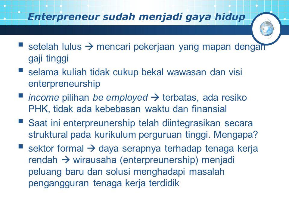 Enterpreneur sudah menjadi gaya hidup  setelah lulus  mencari pekerjaan yang mapan dengan gaji tinggi  selama kuliah tidak cukup bekal wawasan dan