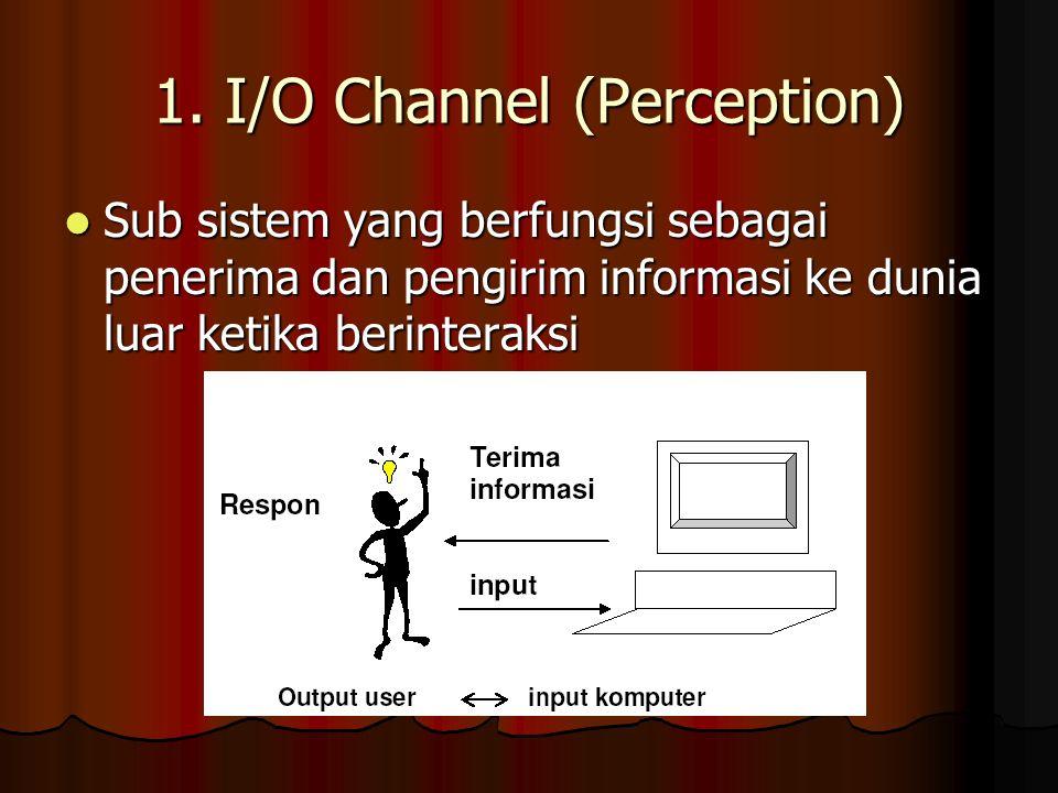 1. I/O Channel (Perception) Sub sistem yang berfungsi sebagai penerima dan pengirim informasi ke dunia luar ketika berinteraksi Sub sistem yang berfun
