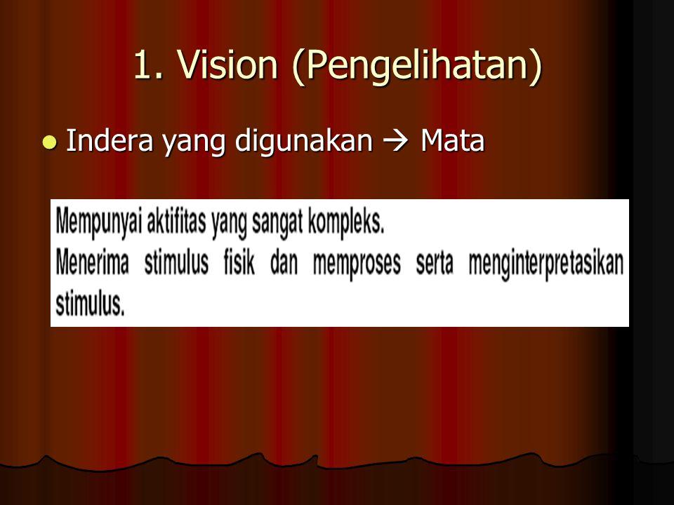 1. Vision (Pengelihatan) Indera yang digunakan  Mata Indera yang digunakan  Mata