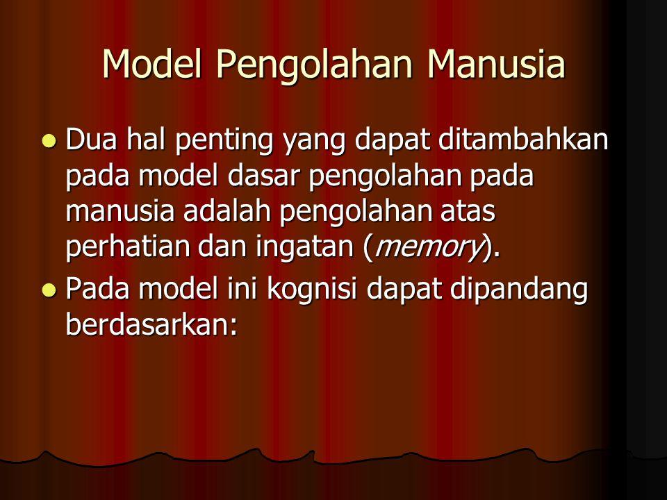 Model Pengolahan Manusia Dua hal penting yang dapat ditambahkan pada model dasar pengolahan pada manusia adalah pengolahan atas perhatian dan ingatan (memory).