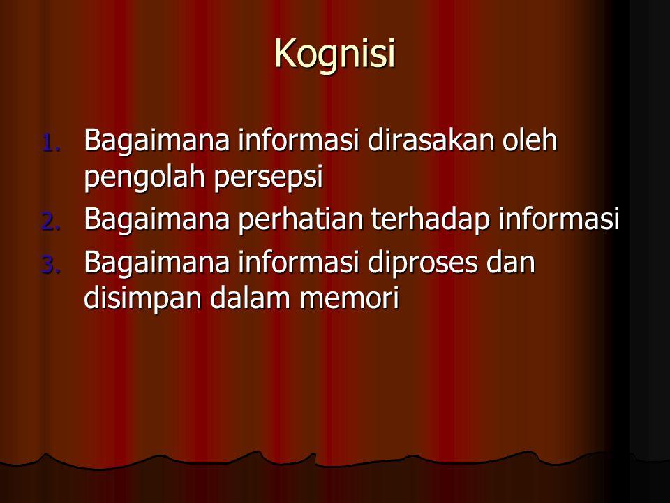 Kognisi 1. Bagaimana informasi dirasakan oleh pengolah persepsi 2. Bagaimana perhatian terhadap informasi 3. Bagaimana informasi diproses dan disimpan