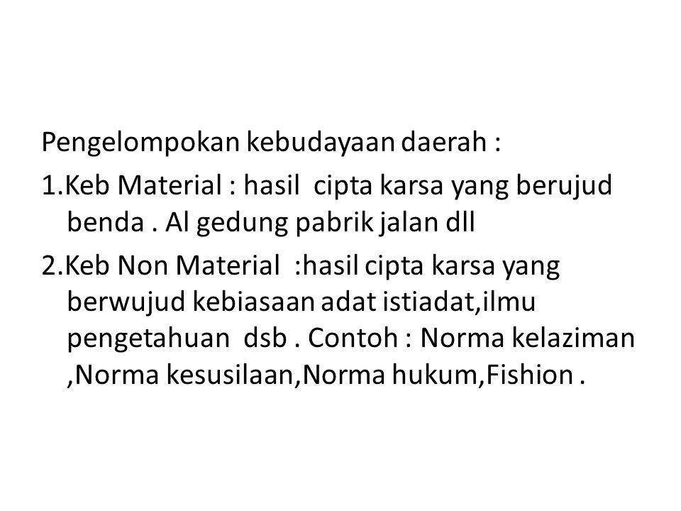 Pengelompokan kebudayaan daerah : 1.Keb Material : hasil cipta karsa yang berujud benda.