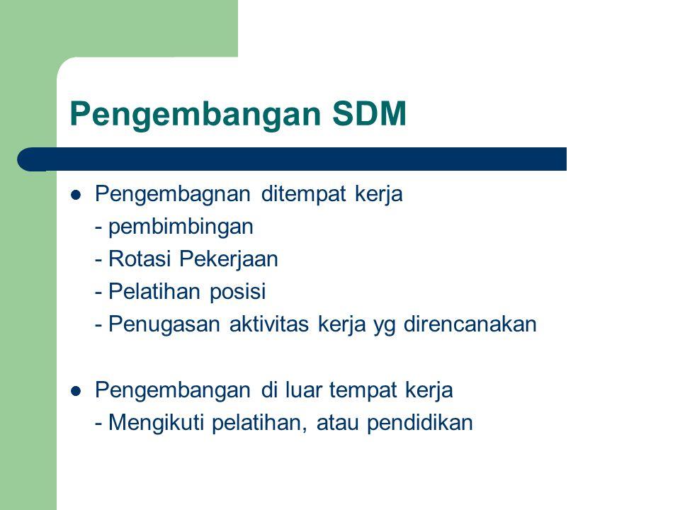 Pengembangan SDM Pengembagnan ditempat kerja - pembimbingan - Rotasi Pekerjaan - Pelatihan posisi - Penugasan aktivitas kerja yg direncanakan Pengemba