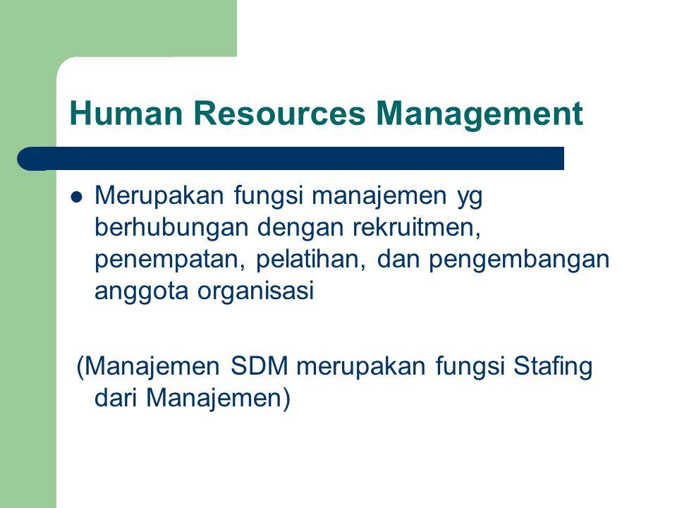 Human Resources Management Merupakan fungsi manajemen yg berhubungan dengan rekruitmen, penempatan, pelatihan, dan pengembangan anggota organisasi (Ma