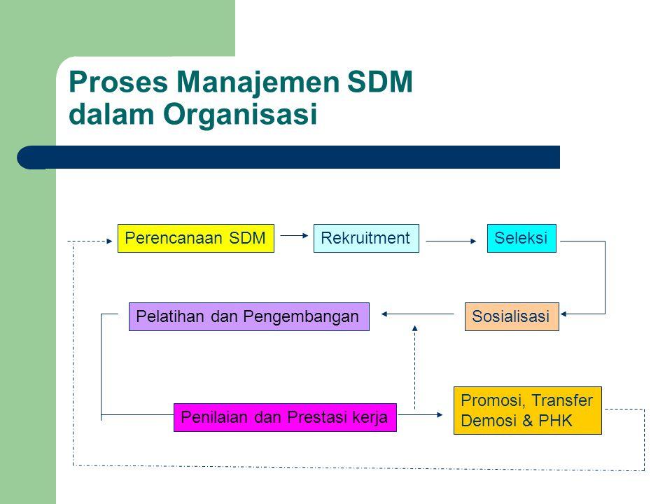Proses Manajemen SDM dalam Organisasi Perencanaan SDMRekruitmentSeleksi SosialisasiPelatihan dan Pengembangan Penilaian dan Prestasi kerja Promosi, Tr