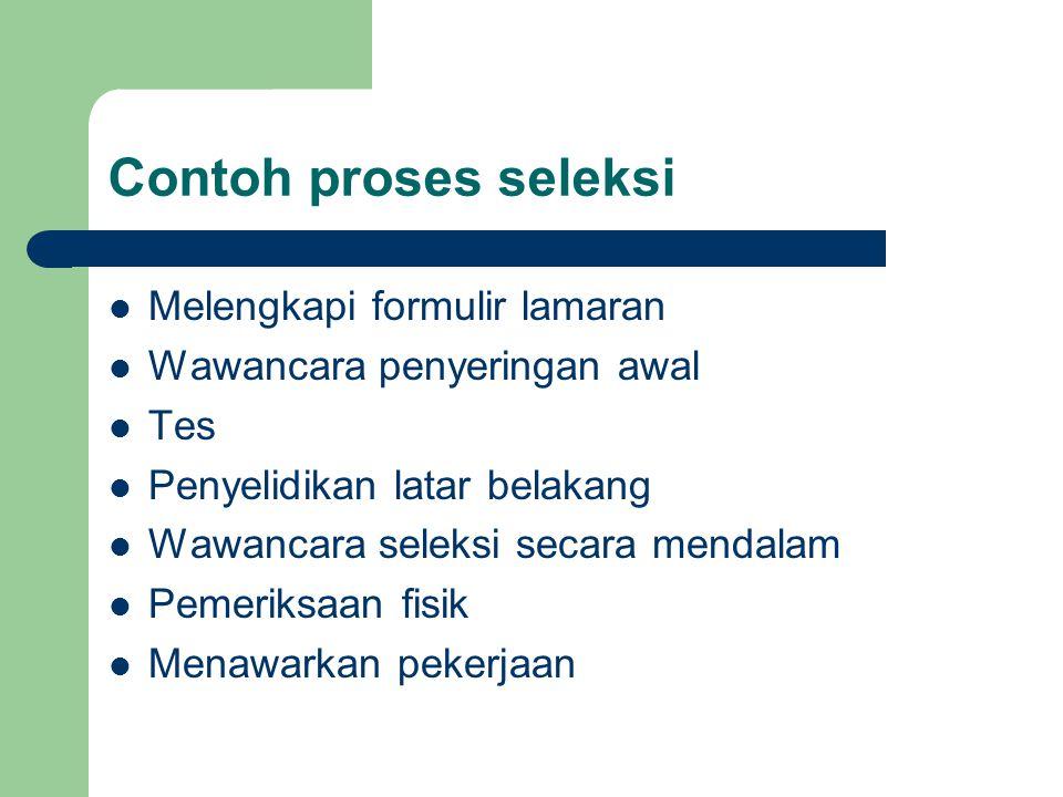 Contoh proses seleksi Melengkapi formulir lamaran Wawancara penyeringan awal Tes Penyelidikan latar belakang Wawancara seleksi secara mendalam Pemerik
