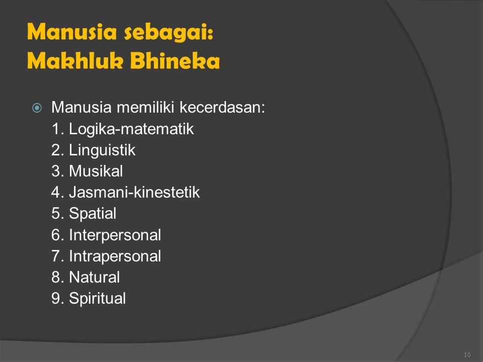 Manusia sebagai: Makhluk Bhineka  Manusia memiliki kecerdasan: 1. Logika-matematik 2. Linguistik 3. Musikal 4. Jasmani-kinestetik 5. Spatial 6. Inter