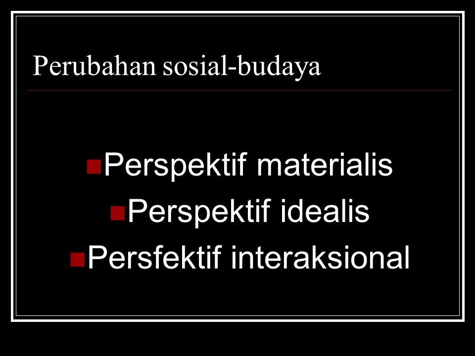 Perubahan sosial-budaya Perspektif materialis Perspektif idealis Persfektif interaksional
