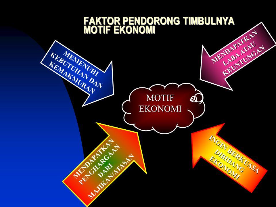 PENGERTIAN Motif ekonomi; DDorongan atau alasan yang membuat orang mau melakukan tindakan ekonomi.
