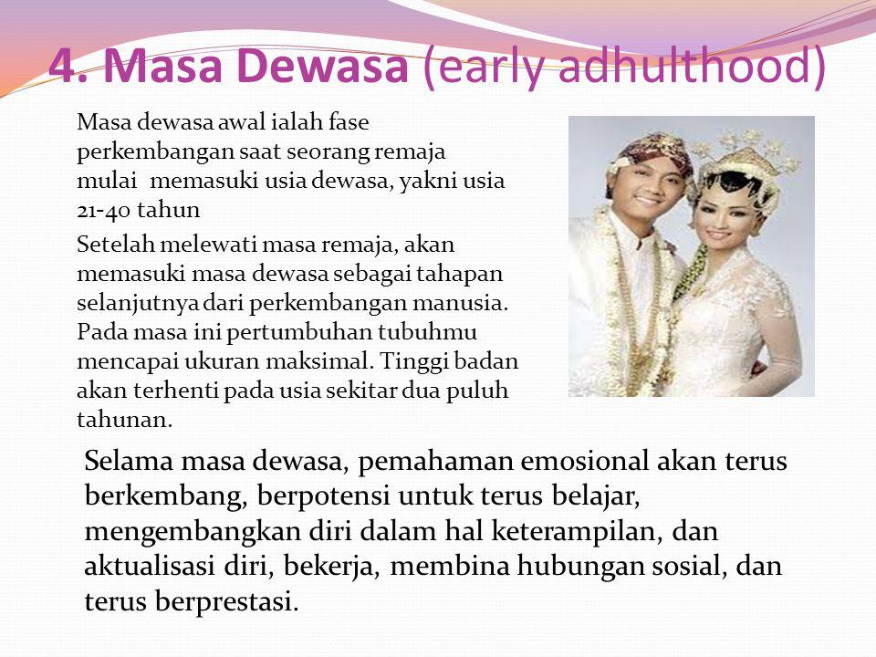 4. Masa Dewasa (early adhulthood) Masa dewasa awal ialah fase perkembangan saat seorang remaja mulai memasuki usia dewasa, yakni usia 21-40 tahun Sete