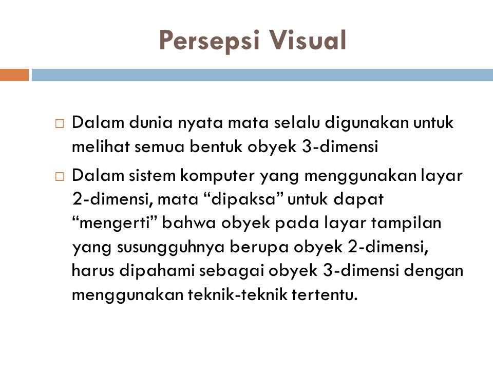 Persepsi Visual  Dalam dunia nyata mata selalu digunakan untuk melihat semua bentuk obyek 3-dimensi  Dalam sistem komputer yang menggunakan layar 2-dimensi, mata dipaksa untuk dapat mengerti bahwa obyek pada layar tampilan yang susungguhnya berupa obyek 2-dimensi, harus dipahami sebagai obyek 3-dimensi dengan menggunakan teknik-teknik tertentu.