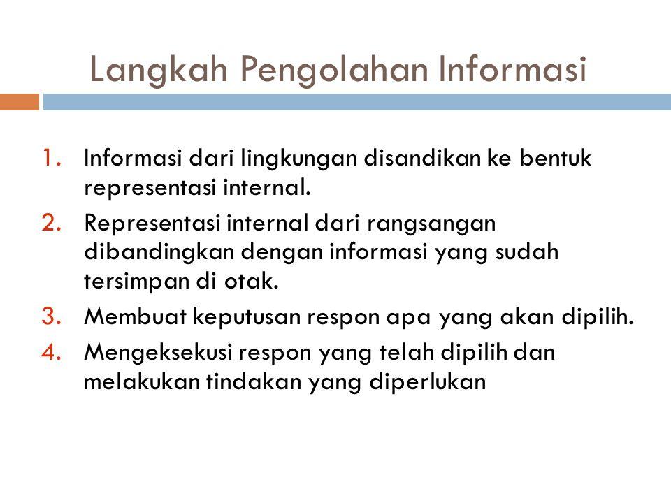 Langkah Pengolahan Informasi 1.Informasi dari lingkungan disandikan ke bentuk representasi internal. 2.Representasi internal dari rangsangan dibanding