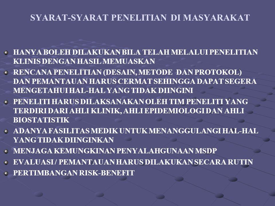 SYARAT-SYARAT PENELITIAN DI MASYARAKAT HANYA BOLEH DILAKUKAN BILA TELAH MELALUI PENELITIAN KLINIS DENGAN HASIL MEMUASKAN RENCANA PENELITIAN (DESAIN, M