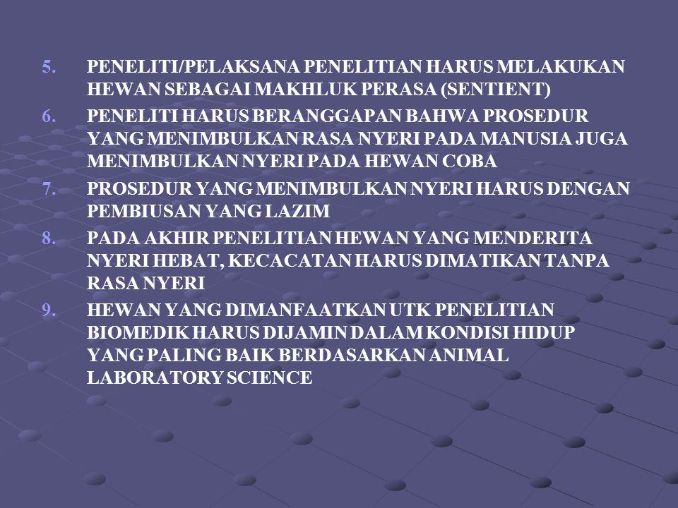 5.PENELITI/PELAKSANA PENELITIAN HARUS MELAKUKAN HEWAN SEBAGAI MAKHLUK PERASA (SENTIENT) 6. 6.PENELITI HARUS BERANGGAPAN BAHWA PROSEDUR YANG MENIMBULKA