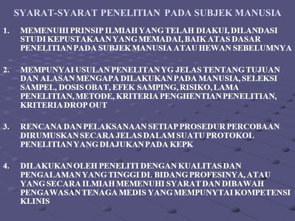 SYARAT-SYARAT PENELITIAN PADA SUBJEK MANUSIA 1.MEMENUHI PRINSIP ILMIAH YANG TELAH DIAKUI, DILANDASI STUDI KEPUSTAKAAN YANG MEMADAI, BAIK ATAS DASAR PE
