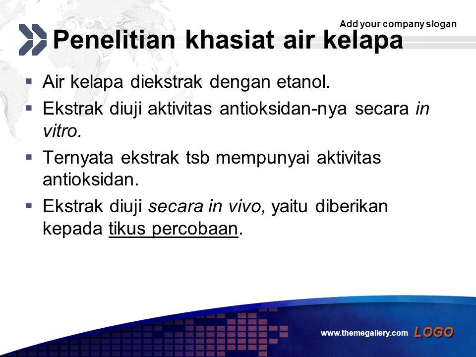Add your company slogan LOGO Penelitian khasiat air kelapa  Air kelapa diekstrak dengan etanol.