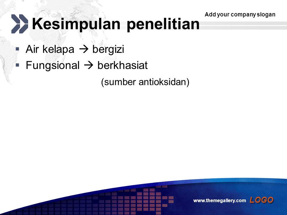 Add your company slogan LOGO (Satuhu dan Sunarmani, 2004) Santan murniAir : kelapa parut (1:1) Protein4.22 Lemak34.310 Karbohidrat5.67.6 Air54.980 www.themegallery.com