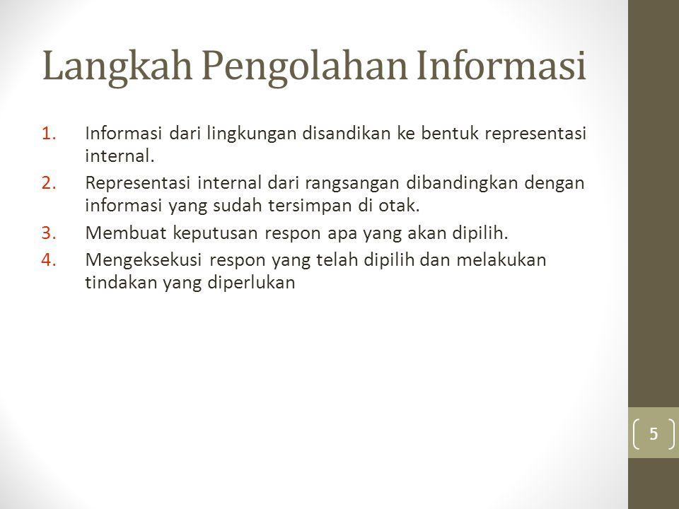 Kognisi 1.Bagaimana informasi dirasakan oleh pengolah persepsi 2.Bagaimana perhatian terhadap informasi 3.Bagaimana informasi diproses dan disimpan dalam memori 6