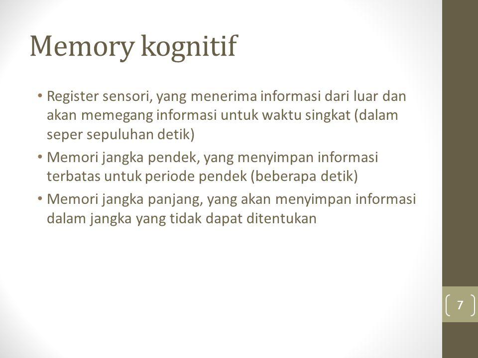Register sensori Register sensori / Memori Sensoris: adalah informasi sensoris yang masih tersisa sesaat setelah stimulus diambil.