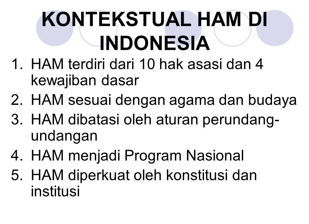 KONTEKSTUAL HAM DI INDONESIA 1.HAM terdiri dari 10 hak asasi dan 4 kewajiban dasar 2.HAM sesuai dengan agama dan budaya 3.HAM dibatasi oleh aturan per