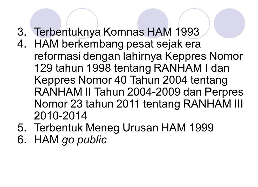 3.Terbentuknya Komnas HAM 1993 4.HAM berkembang pesat sejak era reformasi dengan lahirnya Keppres Nomor 129 tahun 1998 tentang RANHAM I dan Keppres No