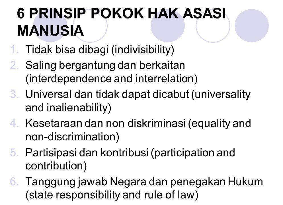 6 PRINSIP POKOK HAK ASASI MANUSIA 1.Tidak bisa dibagi (indivisibility) 2.Saling bergantung dan berkaitan (interdependence and interrelation) 3.Univers