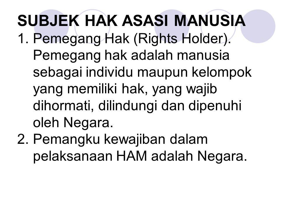 SUBJEK HAK ASASI MANUSIA 1.Pemegang Hak (Rights Holder). Pemegang hak adalah manusia sebagai individu maupun kelompok yang memiliki hak, yang wajib di