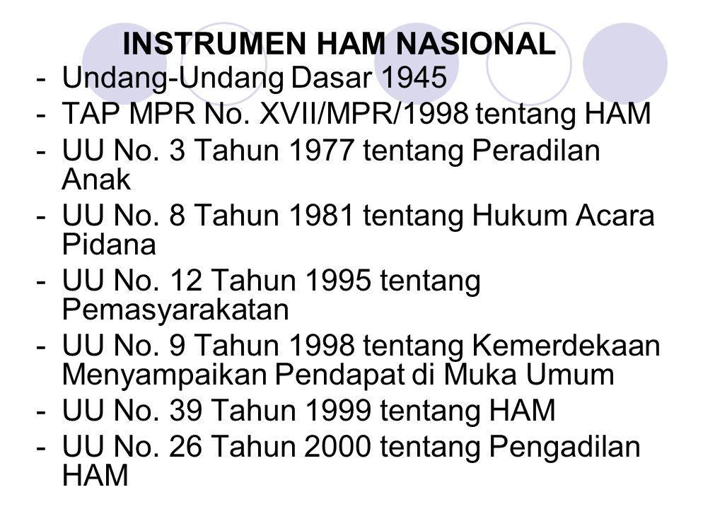 -Undang-Undang Dasar 1945 -TAP MPR No. XVII/MPR/1998 tentang HAM -UU No. 3 Tahun 1977 tentang Peradilan Anak -UU No. 8 Tahun 1981 tentang Hukum Acara