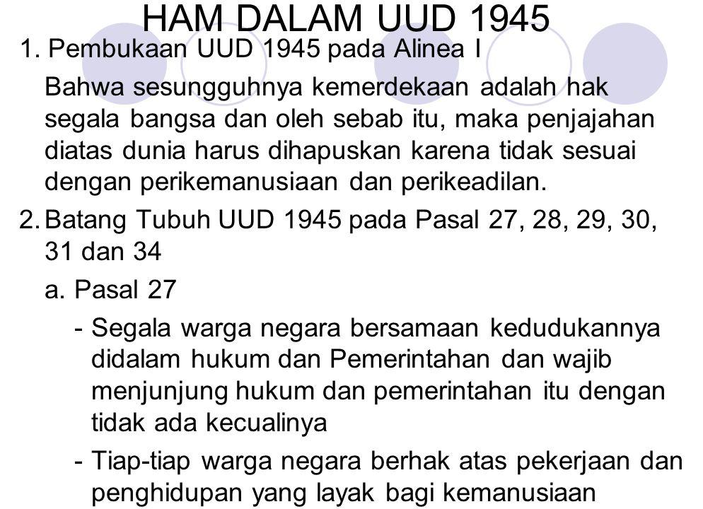 HAM DALAM UUD 1945 1. Pembukaan UUD 1945 pada Alinea I Bahwa sesungguhnya kemerdekaan adalah hak segala bangsa dan oleh sebab itu, maka penjajahan dia